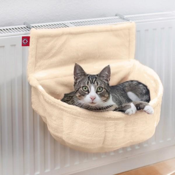 Katzen Kuschelsack für Heizkörper   Creme