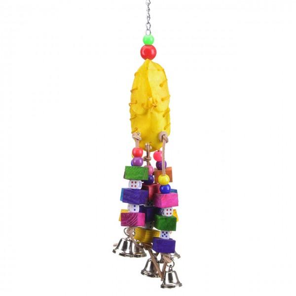 Vogelspielzeug Five Bell mit Glöckchen und Büffelhautschuh