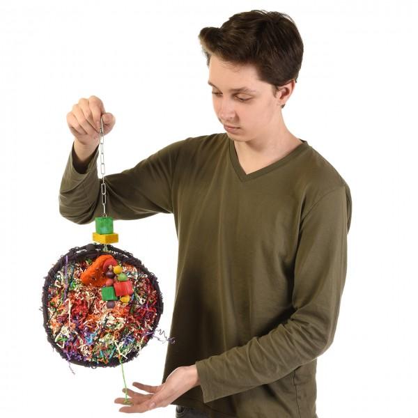 """Papageienspielzeug """"Shredder-Fun-Disc"""", ideal auch für Rupfer"""